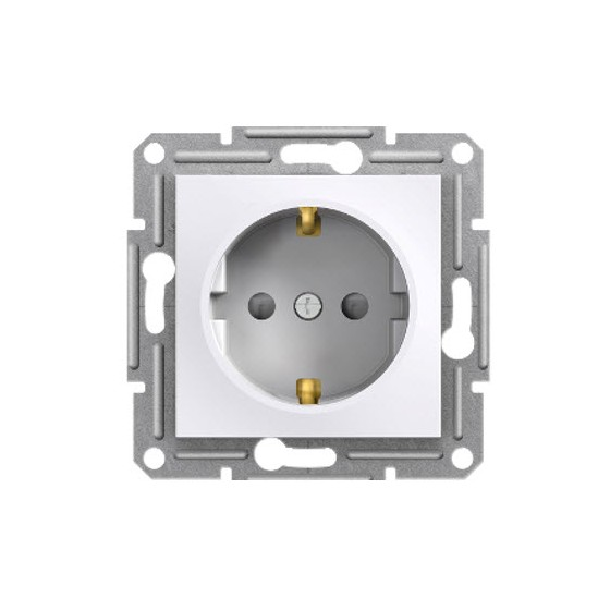 SINGLE SOCKET OUTLET WITH SIDE EARTH WITH SHUTTERS -...