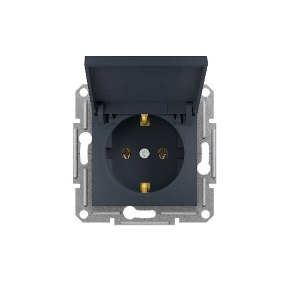SINGLE SOCKET OUTLET WITH SIDE EARTH WITH LID -...