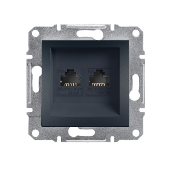 RJ11 + RJ45 DATA SOCKET CAT6 UTP - ANTHRACITE (WITHOUT...