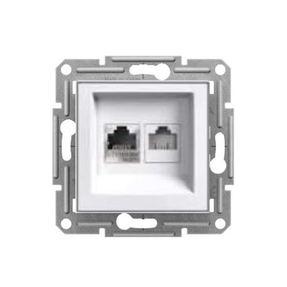RJ11 + RJ45 DATA SOCKET CAT6 UTP - WHITE (WITHOUT FRAME)...